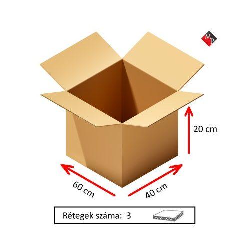 Kartondoboz 60x40x20 cm, 3 rétegű