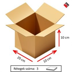 Kartondoboz 20x10x10 cm, 3 rétegű