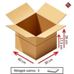 Kartondoboz 40x30x26 / 17,3 cm, 3 rétegű